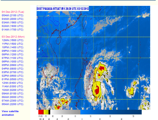 Screenshot from PAGASA