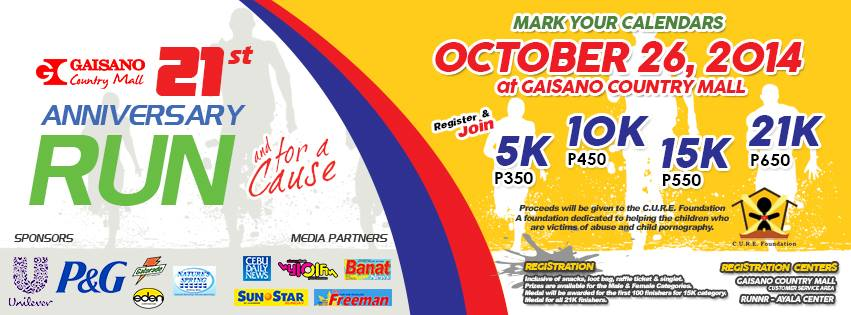 Help Victims of Childhood Abuse, Join Gaisano's Fun Run on October 26, 2014