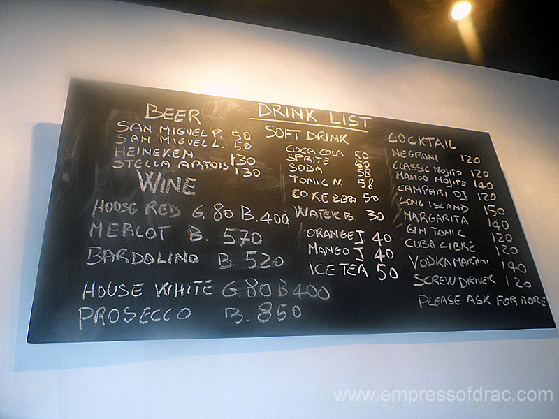 La Busa Italian Restaurant Cebu - Drink List