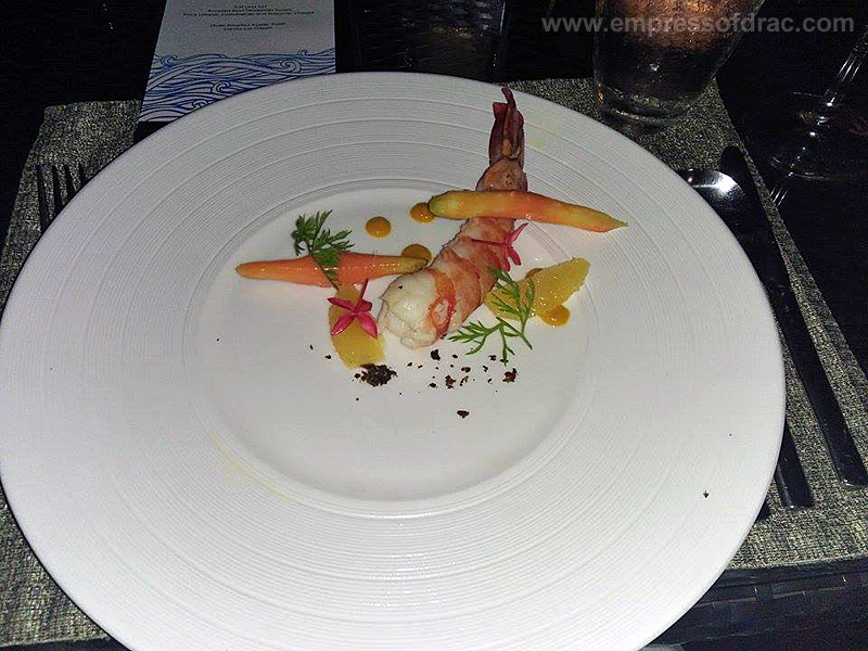 Cowrie Cove Shangrila Mactan Sauteed King Prawn Orange Salad and Roasted Carrot3