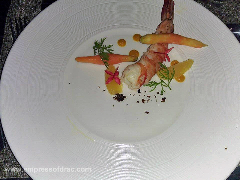 Cowrie Cove Shangrila Mactan Sauteed King Prawn Orange Salad and Roasted Carrot4