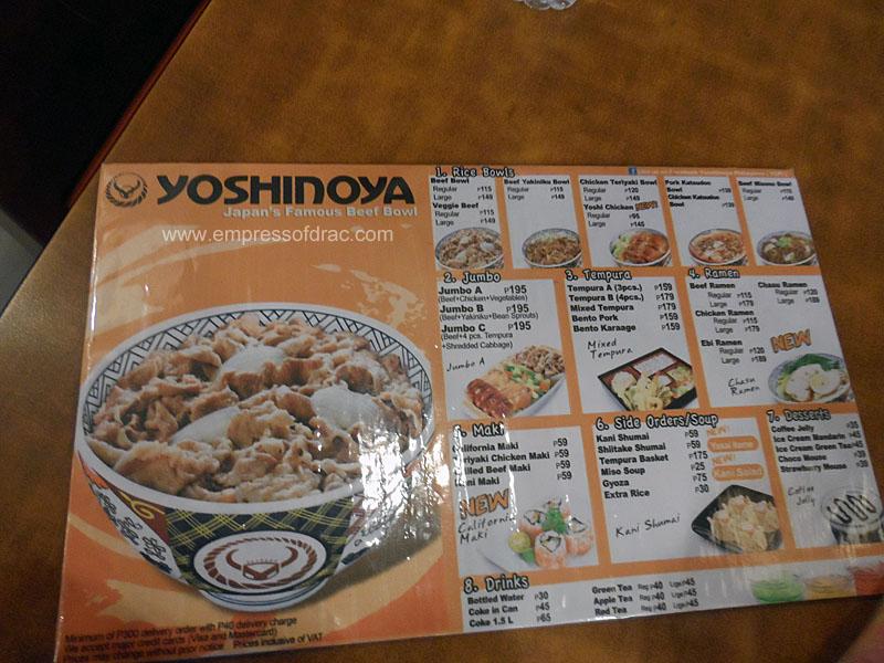 Yoshinoya Japanese Resto Manila - Menu