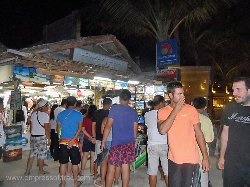 Tourists at Night - Boracay Island 2013